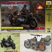 BMW R-12 German Motorcycle with Sidecar and Crew - Zvezda - 1/35